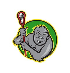 Gorilla ape with lacrosse stick cartoon vector