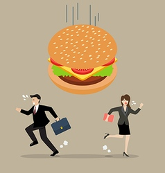 Business people run away from hamburger crisis vector
