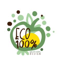 One hundred percent eco label original design vector