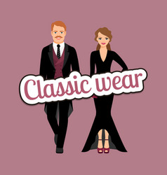 People in classic evening fashion outfit vector