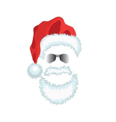 Red Santa Claus Hat beard and glasses vector image