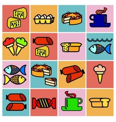 Collection flat icons food symbols vector