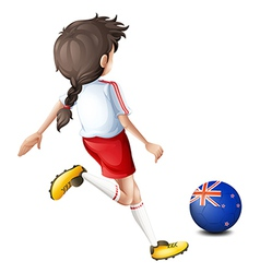 A lady kicking the ball with the flag of New vector image