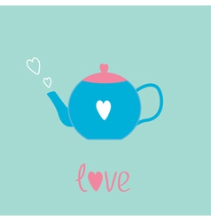 Blue and pink teapot with hearts love card vector