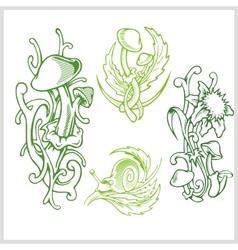Mushrooms design for tattoo vector image