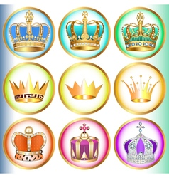 Set of crowns with precious stones vector