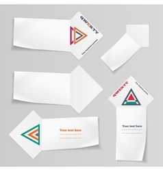 Paper banners triangular logo icons set labels vector