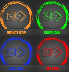 Dices icon fashionable modern style in the orange vector