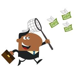 Business Man Chasing Money Cartoon vector image