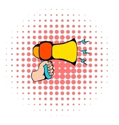 Male hand holding loudspeaker icon comics style vector