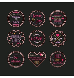 Valentines day line emblem set on black background vector