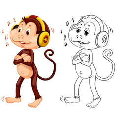 Animal outline for monkey listening to music vector