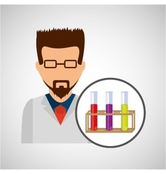 character scientist chemistry test tube rack vector image