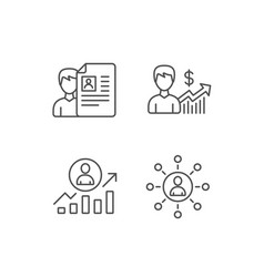 Cv business networking and get a job icons vector