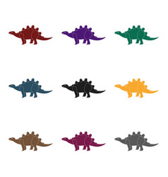 dinosaur stegosaurus icon in black style isolated vector image vector image