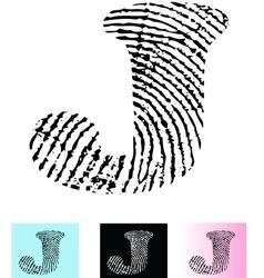 Fingerprint Alphabet Letter J vector image