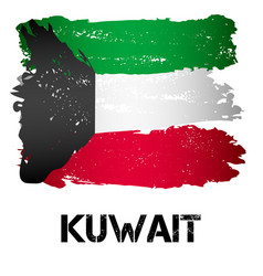flag of kuwait from brush strokes vector image