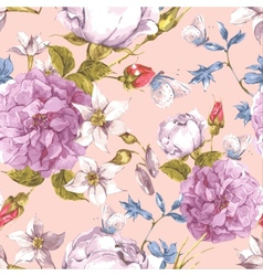 Floral Seamless Vintage Background with Roses vector image