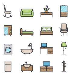 Furniture icon bold stroke with color vector