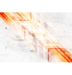 Grunge orange tech background with arrows vector
