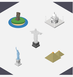 isometric architecture set of egypt india mosque vector image vector image