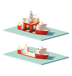 low poly heavy lift ship and oil rig vector image