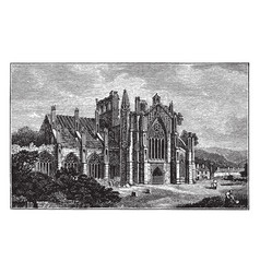 Melrose abbey ruins a gothic-style abbey in vector