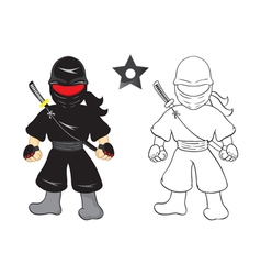 ninja cartoon on white background vector image