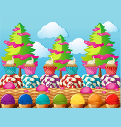 Scene wtih cupcakes and icecream in the field vector