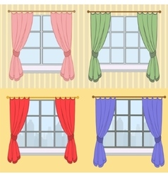 Set of curtains with different colors vector