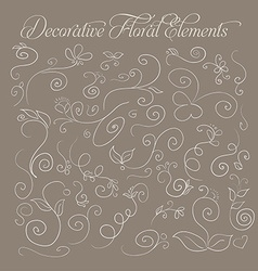 Set of decorative floral elements hand-drawn on a vector image