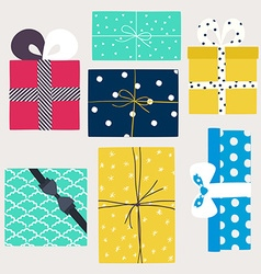 set with gift boxes in crafting paper vector image