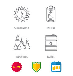 Solar energy battery and oil barrel vector