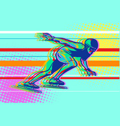 speed skating skater on the ice winter sports vector image