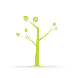 tree and green leaves isolated on white vector image vector image