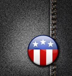USA America Emblem Flag Badge on Black Jeans Denim vector image
