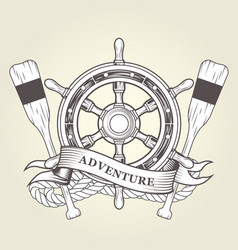 Vintage steering wheel and oars - nautical emblem vector