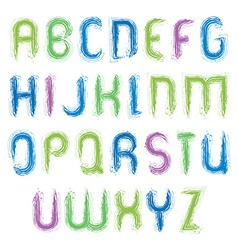 vivid alphabet capital letters set hand-drawn vector image