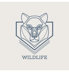 Wolf linear art icons vector