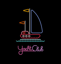Yacht club neon sign vector