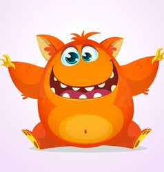Orange fat and fluffy halloween monster vector