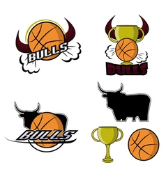 Sets retro bulls logo vector