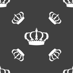 Crown icon sign seamless pattern on a gray vector