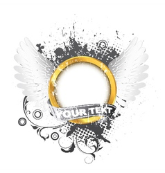 gold label with wings and grunge vector image