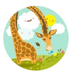 Cute giraffe smelling a flower vector