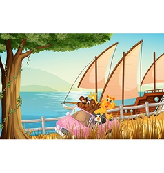 A pink car with animals travelling near the sea vector