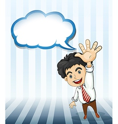 A smiling businessman with an empty cloud template vector image