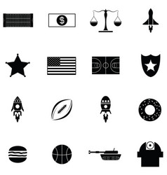American icon set vector