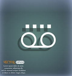 audio cassette icon symbol on the blue-green vector image vector image