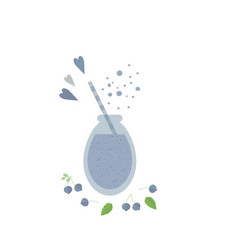 Blueberry shake smoothie in glass jar on a table vector